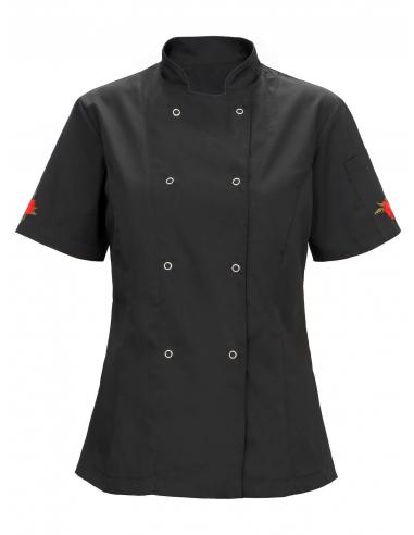 Bluza kucharska damska czarna z motywem w czerwone różyczki