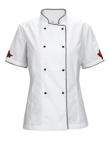 Bluza kucharska damska biała z motywem czerwonej różyczki