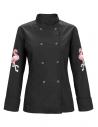 Bluza kucharska damska czarna z motywem flamingów