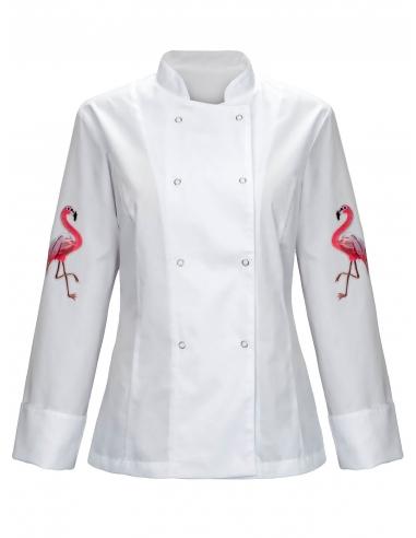 Bluza kucharska damska biała z motywem flamingów