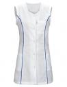 Fartuch biały z szafirową wstawką bez rękawów
