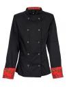 Bluza kucharska czarna z różami na mankietach