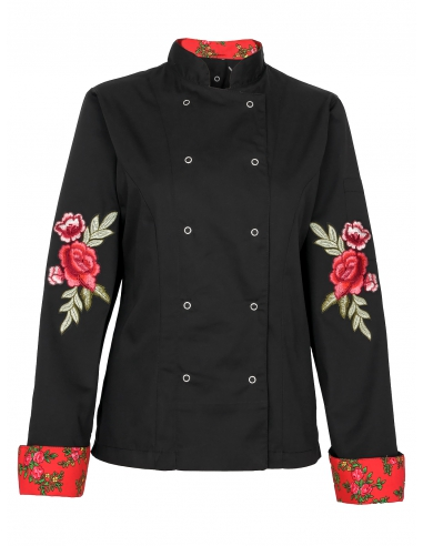 Bluza kucharska damska czarna z różami na rękawach