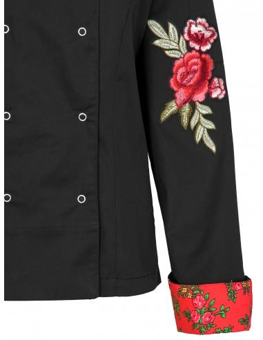 bluza kucharska z różami czarna
