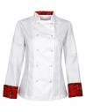 Bluza kucharska damska biała z różami na mankietach