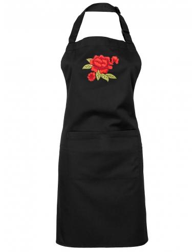 Fartuch czarny z haftem z różami przez szyję