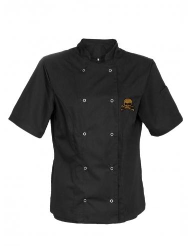 Bluza kucharska męska czarna z krótkim rękawem z haftem trupia czaszka