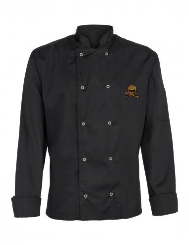 Bluza kucharska męska czarna z długim rękawem z haftem z czaszką