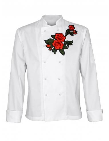 Bluza kucharska męska biała z różą na klacie z długim rękawem
