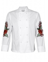 Bluza kucharska męska biała z różami na rękawach z długim rękawem