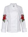 Bluza kucharska damska biała z długimi rękawami z różami na rękawach