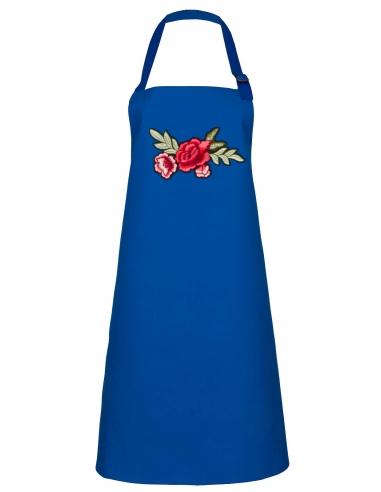 Fartuch kuchenny niebieski z haftem z różami