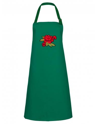 Fartuch kuchenny zielony z haftem z różami
