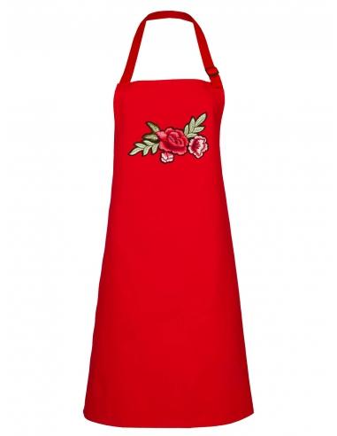 Fartuch kuchenny czerwony z haftem z różami