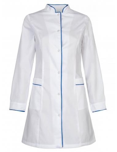 Fartuch biały z długimi rękawami z szafirową wypustką