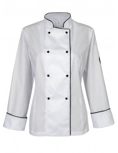 Bluza kucharska damska biała z długim rękawem z motywem wisienki