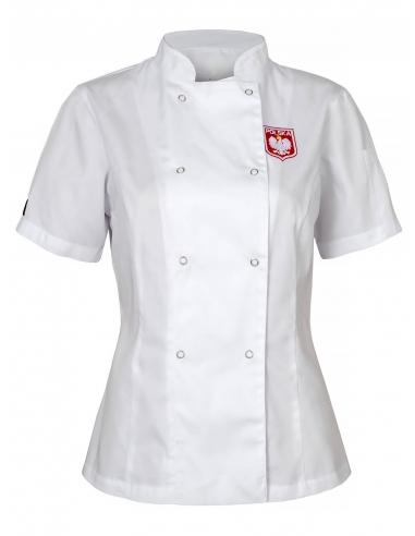 Bluza kucharska biała damska z godłem i flagą Polska