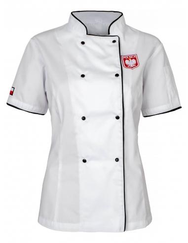 Bluza kucharska biała damska z flagą i godłem Polski
