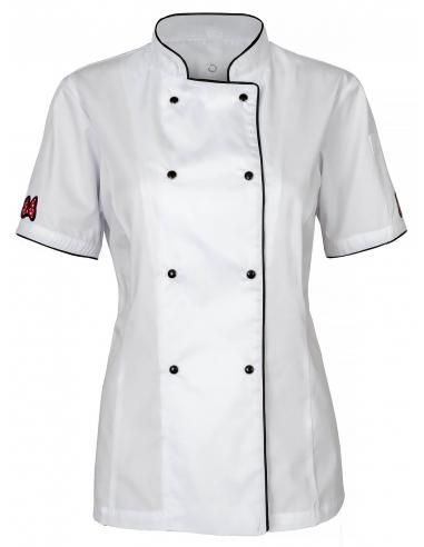 Bluza kucharska damska biała z motywem Kokardki