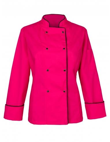 Bluza kucharska damska amarantowa ciemnoróżowa