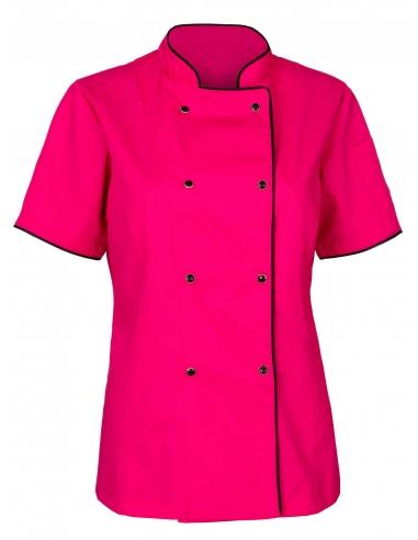 Bluza kucharska damska z krótkim rękawem amarantowa ciemnoróżowa