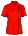 Bluza kucharska damska czerwona z krótkim rękawem