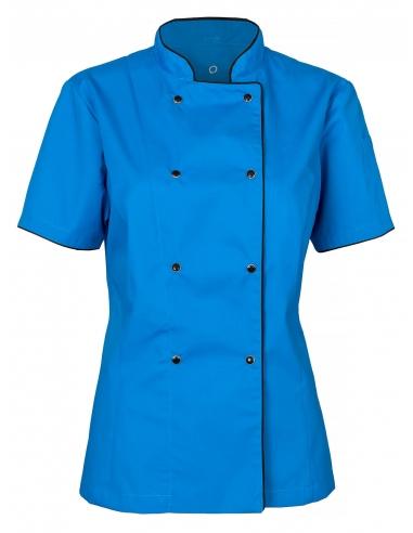 Bluza kucharska damska lazurowa z krótkim rękawem