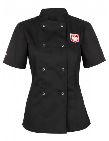 Bluza kucharska czarna damska z flagą i godłem Polska