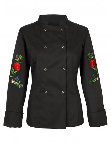 Bluza kucharska damska czarna z motywem maków