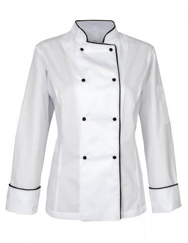 Bluza kucharska biała damska z czarną obwódką