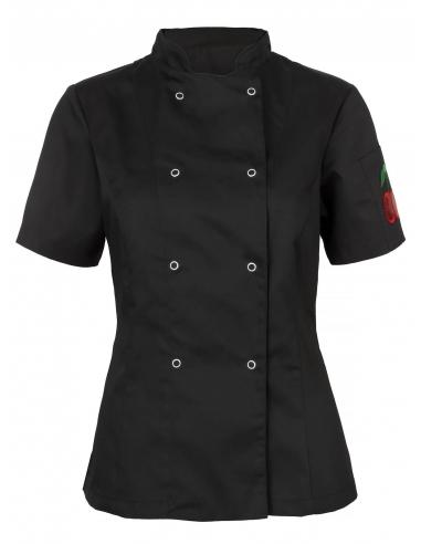 Bluza kucharska damska czarna z motywem wisienki
