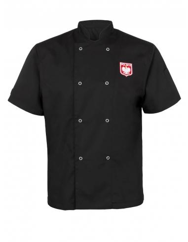 Bluza kucharska czarna męska z flagą i godłem Polska