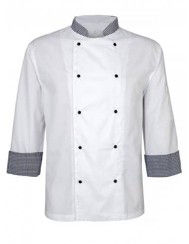 Bluza kucharska męska biała rękaw 3/4 z dodatkiem pepitko