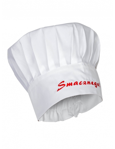 Czapka kucharska budyniówka biała z haftem Smacznego