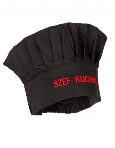 Czapka kucharska budyniówka czarna z haftem Szef Kuchni
