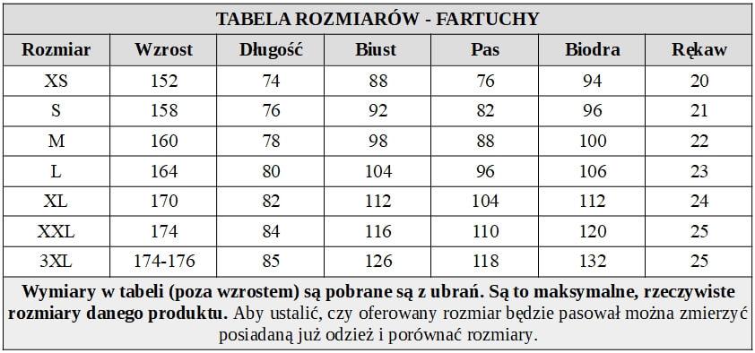 Fartuch bordowy na bok z białą wstawką tabela rozmiarów
