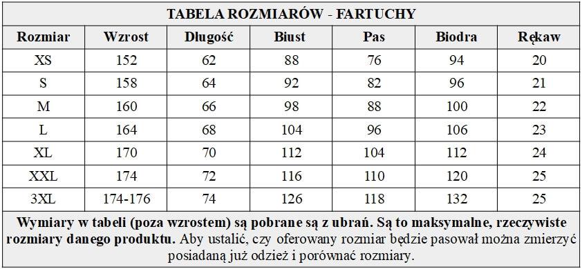 Fartuch gołąbkowy z czarną wstawką tabela rozmiarów