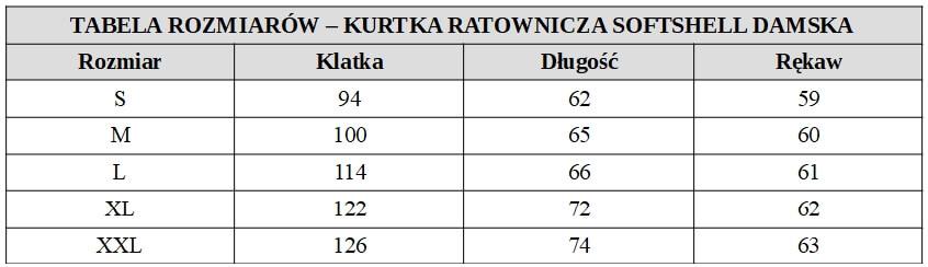 Kurtka ratownicza damska softshell fluo tabela rozmiarów