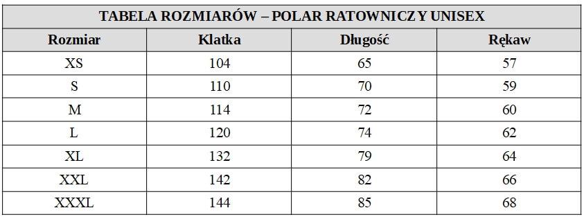 Polar ratowniczy Fluo unisex tabela rozmiarów